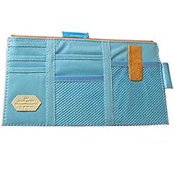Multi-purpose Sun Visor Storage Bag, OWIKAR Auto Car Sun Visor Organizer Hanging Card Storage Holder Pouch Bag For Cards CD Phone Key Pen Organization (Sky Blue)