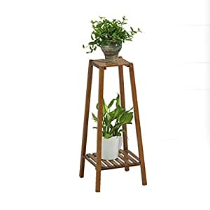 Solid Wood Flower Rack,Double Layer Flower Pot Rack, Indoor Living Room Balcony Plant Display Stand (L32cm W32cm H75cm)
