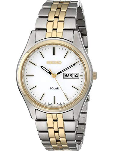 Seiko Men's Solar Watch SNE032P1 (White Dial Polished)