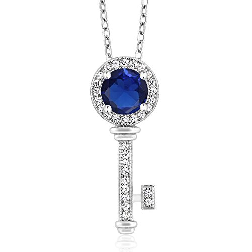 1.37 Ct Round Blue Simulated Sapphire 925 Sterling Silver Key Pendant