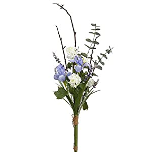 "42"" Handwrapped Iris, Snowball & Lavender Silk Flower Bouquet -Purple/White (Pack of 6) 3"