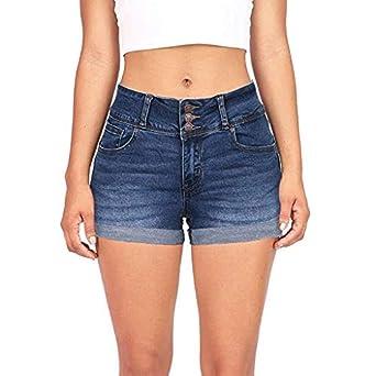 92211d3ea8f5c0 MOIKA Jeans Femme Dechire Couleur Unie Casual Jeans Taille Haute Skinny  Short en Jean Grande Taille Bermuda Ete Pas Cher Pantalon Ete