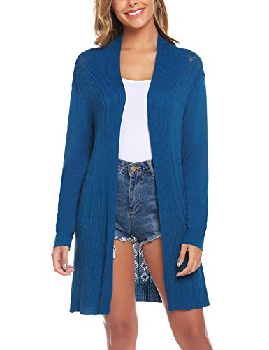 iClosam Womens Casual Long Sleeve Open Front Cardigan Sweater (#6Blue-393, Medium)