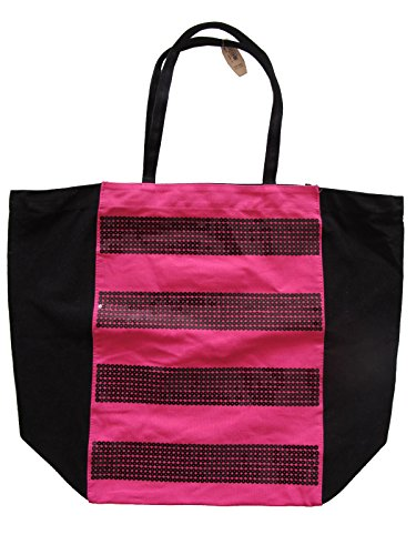 Victoria Secret `Pink Shopper Bag Tote Tasche Umhaengetasche Pailetten Neu h541tJ