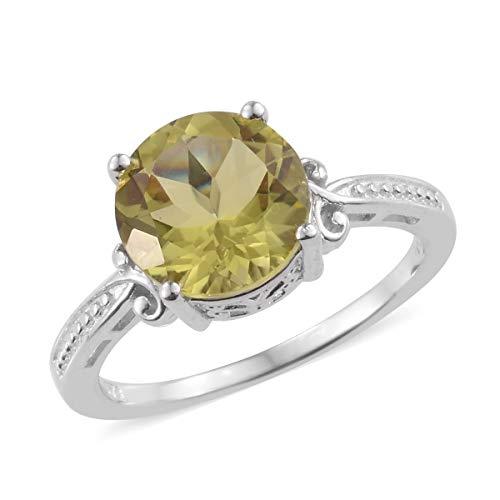 Shop LC Delivering Joy Solitaire Ring Round Lemon Quartz Gift Jewelry for Women Size 8 Cttw 3.7