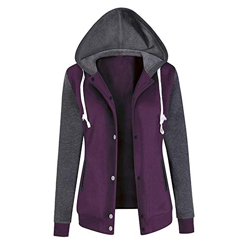 Aniywn Baseball Hoodie Jacket for Women,Casual Buttons Patchwork Sport Cotton Hooded Sweatshirt Coat Purple (Best Dog Coat Supplement)