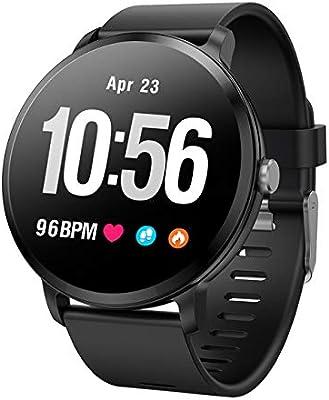 QTEC Reloj Inteligente Reloj Inteligente Ip67 Resistente al Agua Actividad de Vidrio Templado Rastreador de Ejercicios Monitor de Ritmo cardíaco Hombres ...