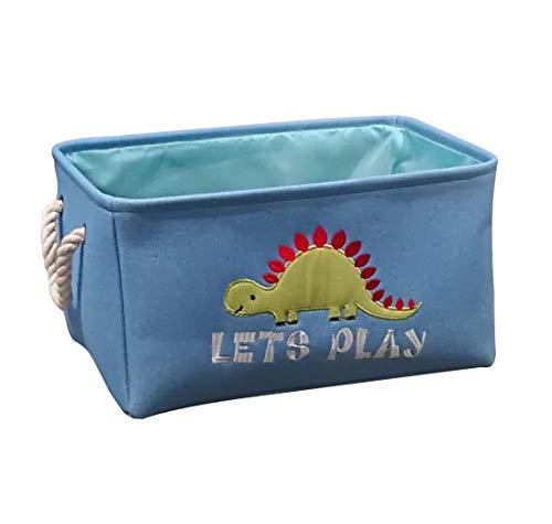 Basket Book Dinosaur (Dinosaur Rectangular Storage Basket, Collapse Fabric Cartoon Storage Bin with Handles,Home Organizational Solution for Nursery Storage, Kids Toys & Laundry, Gift Baskets (Light Blue))