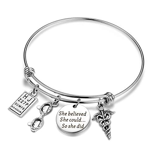 AKTAP She Believed She Could So She Did Adjustable Bangle Optometrist Gifts Graduation Birthday Gift for Eye Doctor Optometry Student (Optometrist Bangle)