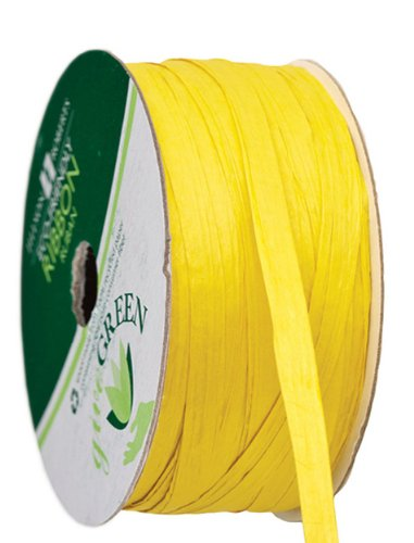 """Jillson Roberts 6-Spool Count 1/4"""" x 50' Recycled Paper Raffia Available in 16 Colors, Yellow"""