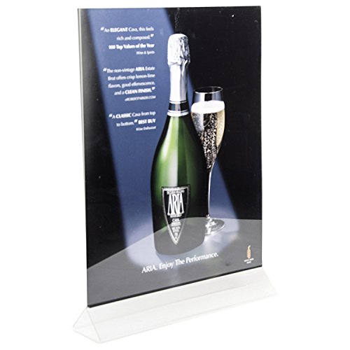 Clear-Ad - LHB-1114 - Double Sided Acrylic Upright Sign Holder 11x14 - Table Menu Card Display Stand - Plastic Picture Frame (Pack of 3) (Base O-ring)