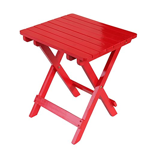Songsen Outdoor Quick Folding Camping Stool Wooden Adirondack Side Table, Red - Adirondack Bench Garden