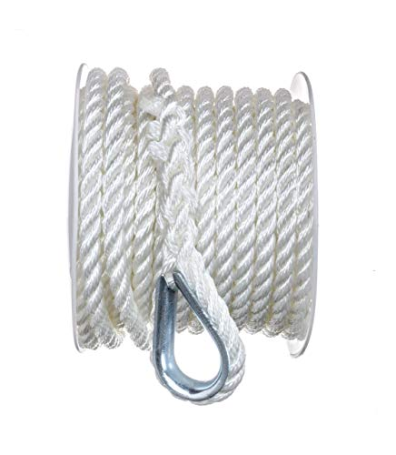 - SEACHOICE 3-Strand Twisted Nylon Anchor Line 3/8