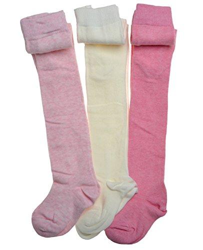 WB Socks n.3 paia di calzemaglia rosa e crema in puro cotone per bambini 1