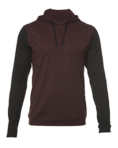 SODO Men's SLU Premium Performance Hoodie- Heather Oxblood/Black Sleeves- Large