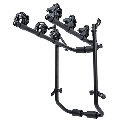 Dependable Direct 3-Bike Trunk Mount Bike Rack - Tie Down Design, Safety Strap Included - Fits Sedans, Hatchbacks, Minivans, and SUV's - Not Compatible with Rear Spoilers