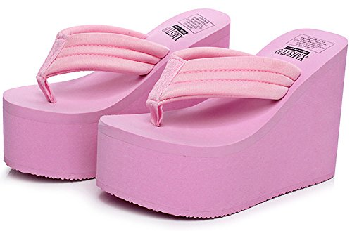 atform Wedge Flip-Flops Sandals Fashion Slipper Summer Thong Pink US 7.5-8 (Thong Platform Shoes)