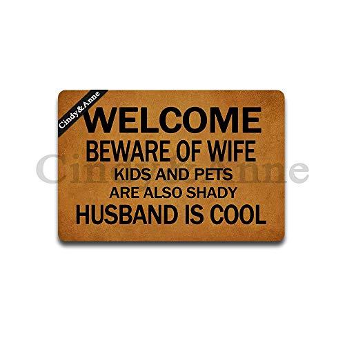 Tdou Welcome Beware of Wife Kids Pets Also Shady Husband is Cool Doormat Entrance Floor Mat Funny Doormat Door Mat Decorative Indoor Outdoor Doormat 23.6 by 15.7 Inch Cat Personalized Outdoor Welcome Sign