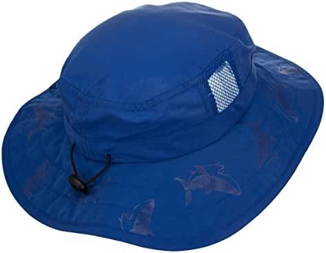 Kids' UPF 50+ Safari Sun Hat, Pink And Blue Flowers, Uv Sun Protective, Lightweight, Velcro Straps Selection