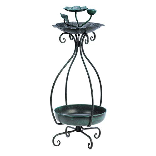 Anya Nana Ideal Green Iron Metal Bird Bath Bird Feeder 2 Tier Plant Stand Flower Planter Shelf Outdoor Living - Tier 2 Birdbath