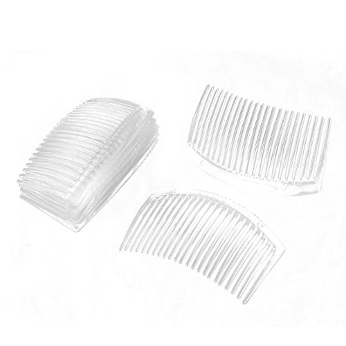 DealMux Women Plastic Handmade 23 Tooth Hair Comb Clip DIY Jewelry Material Accessories 8 Pcs Clear