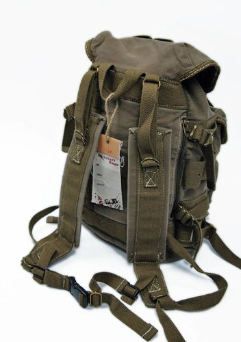Amazon.com: Men's Trendy Military Style Canvas Backpack - Army ...