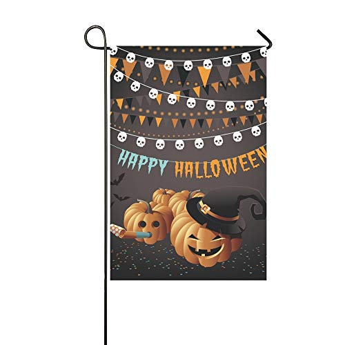 Home Decorative Outdoor Double Sided Happy Halloween Party Pumpkins Bunting Confetti Garden Flag,house Yard Flag,garden Yard Decorations,seasonal Welcome Outdoor Flag 12 X 18 Inch Spring Summer Gift