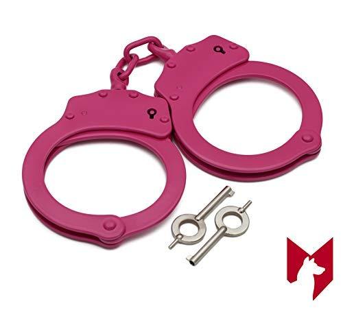 Foxfend Double Locked Chain Handcuffs - Police Edition Professional Grade Heavy Duty Steel W/Two Keys (Pink)