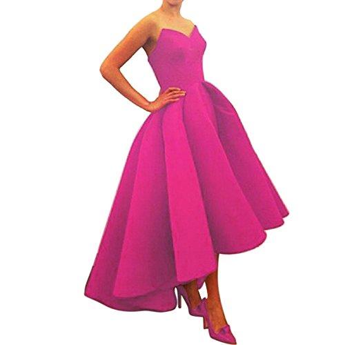 Xoemir Hi Lo Fuschia Strapless Satin Prom Dress Cocktail Gown Sleeveless, 16
