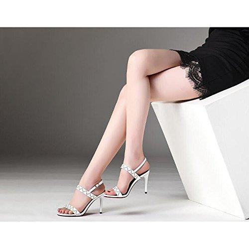 Metallo Toe Moda alla Alti Colore Bianca Tacchi Donne Rivetti Dimensioni Sandali Open 36 Sandali HwxZRH