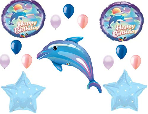 Dolphin Blue Coral Happy Birthday Party Balloons Decorations Supplies Ocean -