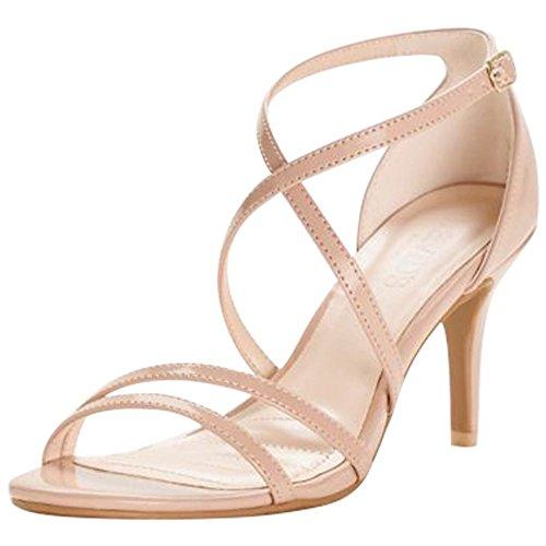 (David's Bridal Crisscross Strap High Heel Sandals Style HARLEEN02, Nude,)