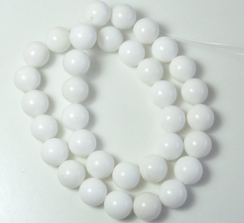 White Mountain Jade Dyed Dolomite Marble Gemstone 12mm Round Beads 15 Inch Loose Strand Approx 33-34 Beads a Grade ()