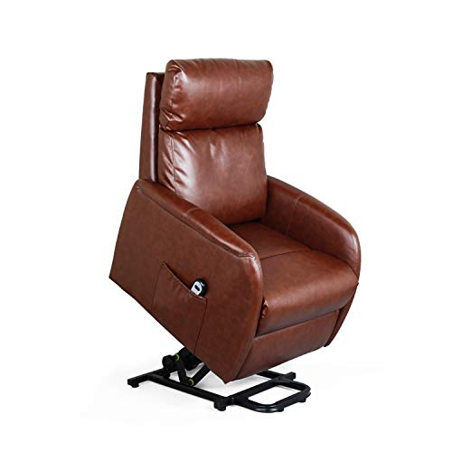 Recliner Chair Electric Lift Lounge with Remote Control Living Room Bedroom Office Reclining Sofa Chair PU Leather Seat with High Sponge with Side Pockets for Everyone. (Red-Brown)