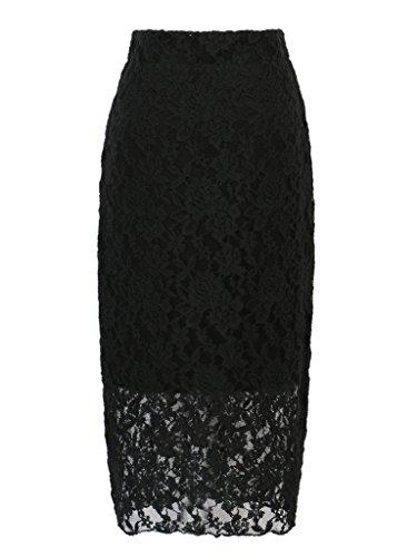 CHARLES RICHARDS CR Women's High Waist Knee Length Black Lace Pencil Midi Skirt