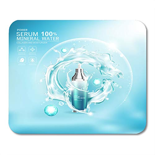 "Nakamela Mouse Pads Glass White Face Mineral Water Splash Serum Collagen Vitamin for Skin Care Cosmetic Products Fresh Mouse mats 9.5"" x 7.9"" Mouse pad Suitable for Notebook Desktop Computers"