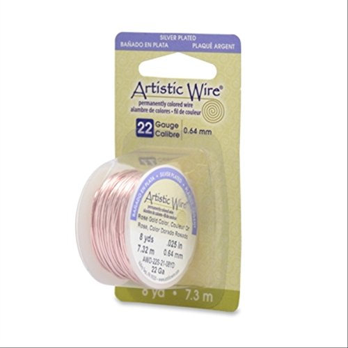 Beadalon 22AWG-21 22 Gauge Permanent Colored Copper Wire, 8-Yard, Rose - Permanent Copper Colored Wire