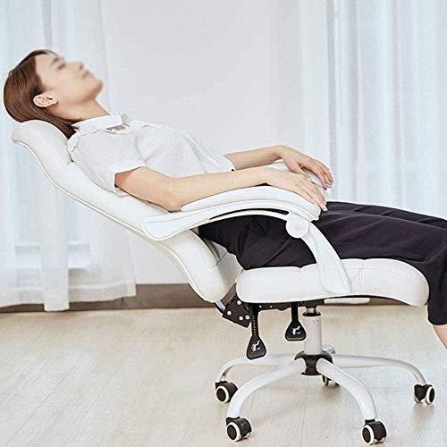 Stolar dator hem chef kontor lyft liggande vridbar PU spel knästol (färg: vit)
