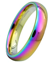 MJ 5mm Multi Colored Gold Plated Rainbow Ring Tungsten Carbide Band