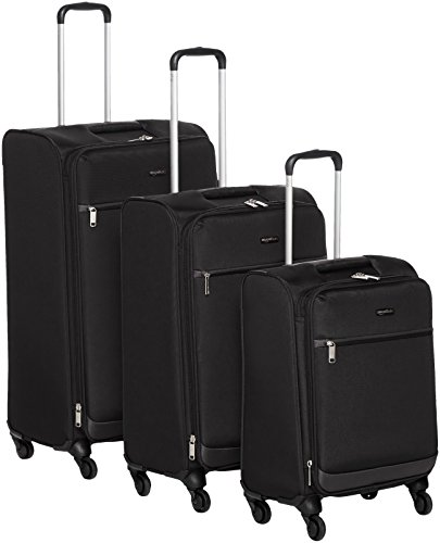 AmazonBasics Softside Spinner Luggage - 3 Piece Set (21'', 25'', 29''), Black by AmazonBasics