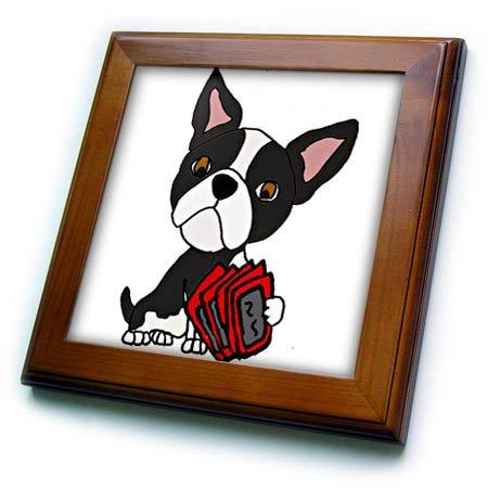 3dRose All Smiles Art Pets - Funny Cute Boston Terrier Dog Playing Card Game - 8x8 Framed Tile (Boston Framed Tile)