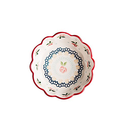 Vintage Cherry Home Baby Tableware Food supplement Ceramic Dish Bowl Sauce Bowl Salad Bowl 6 ()