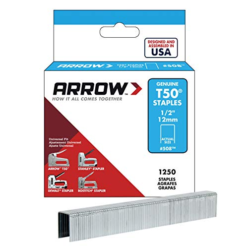 Arrow Fastener 508 Genuine T50 1/2-Inch Staples, 1,250-Pack (Box Staples T50 Arrow)