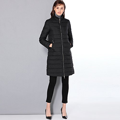 Sleeve Thicken L Coat Black Jacket Down COAT Long Solid DYF Zipper Pocket Color FYM Collar PgHanxpqxw