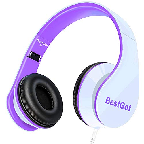 - BestGot kids Headphones girls Over Ear with microphone for kids adult In-line Volume with Transport Waterproof Bag Foldable Headphone with 3.5mm plug removable cord (White/Purple)
