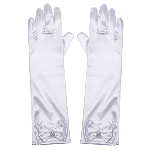 Little Girls Princess Gloves(Solid Color Long Elbow Length) For Birthday,Wedding,Holiday,Costume Party(White)