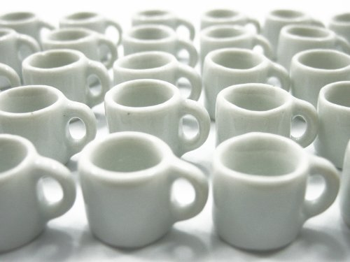 Set 30 White Coffee Mug Tea Cup Dollhouse Miniature Kitchen Deco Ceramic #S Supply - 5376
