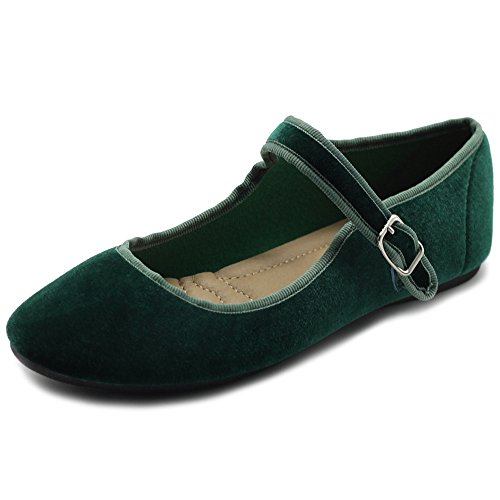 Ollio Women's Shoes Velvet Mary Jane Ballet Flat ZY00F56 (8.5 B(M) US, Dark Green) -