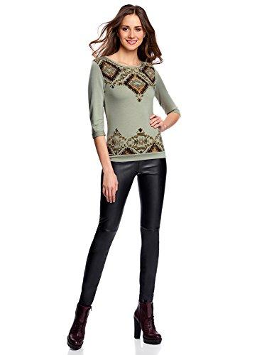 oodji Ultra Mujer Suéter con Estampado Étnico Verde (6052P)