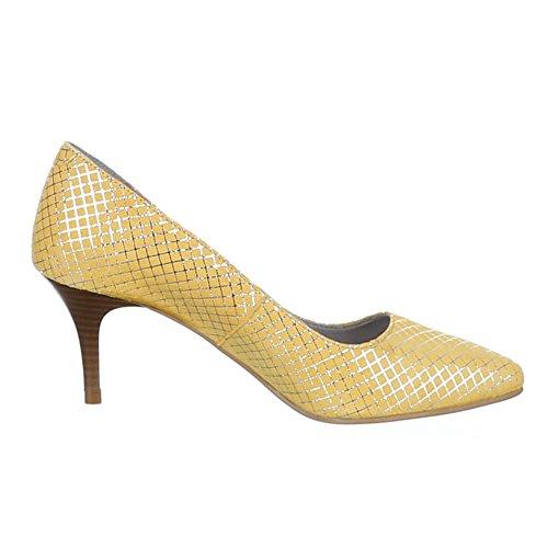 Chaussures Dames, 5453, Pompes À Talons Hauts En Cuir Jaune